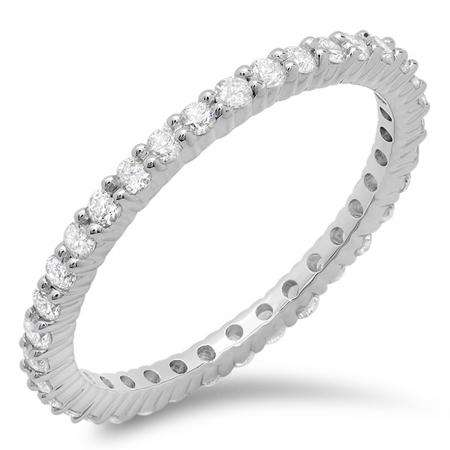 0.60 Carat (ctw) 18k White Gold Round Diamond Ladies Eternity Anniversary Stackable Ring Wedding Band