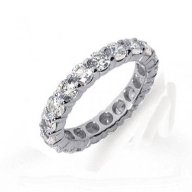 2.49 Carat (ctw) 14k White Gold Round Diamond Ladies Eternity Anniversary Stackable Ring Wedding Band