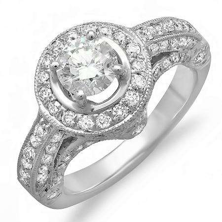 1.83 Carat (ctw) 14k White Gold Round Diamond Ladies Bridal Engagement Vintage Halo Ring Center 0.64 ct