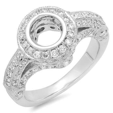 1.00 Carat (ctw) 14k White Gold Round Diamond Ladies Bridal Semi Mount Engagement Ring (No Center Stone) 1 CT
