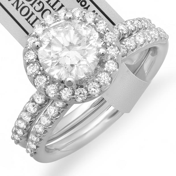 Certified 1.92 Carat (ctw) 14k White Gold Round Diamond Ladies Bridal Engagement Halo Style Ring Set with Matching Wedding Band Center 1.23CT