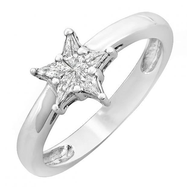 0.15 Carat (ctw) 14k White Gold Noble Cut Diamond Star Shaped 5 Stone Ladies Bridal Engagement Ring