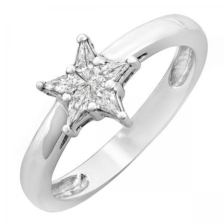 0.20 Carat (ctw) 14k White Gold Star Noble Cut Diamond Ladies Bridal Engagement Ring