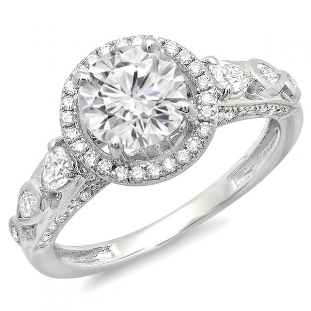 Certified 1.58 Carat (ctw) 18k White Gold Round Diamond Ladies Halo Bridal Engagement Ring