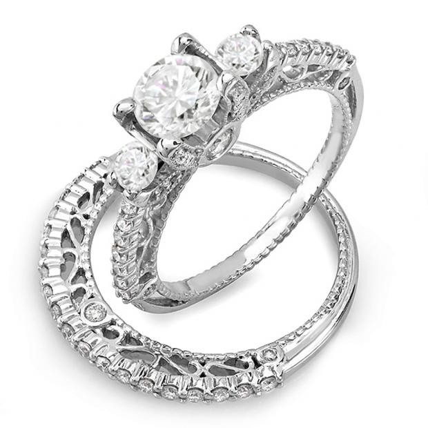 1.25 Carat (ctw) 14k White Gold Round Diamond 3 Stone Ladies Bridal Engagement Ring Set