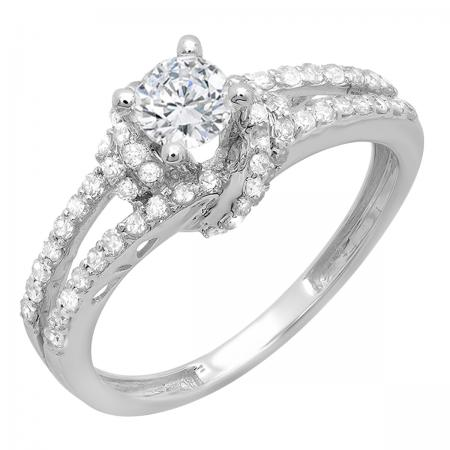 1.00 Carat (ctw) 14k White Gold Round Diamond Ladies Solitaire with Accents Split Shank Bridal Engagement Ring