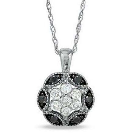 0.25 Carat (ctw) 10K White Gold Round Black and White Diamond Pendant 1/4 CT