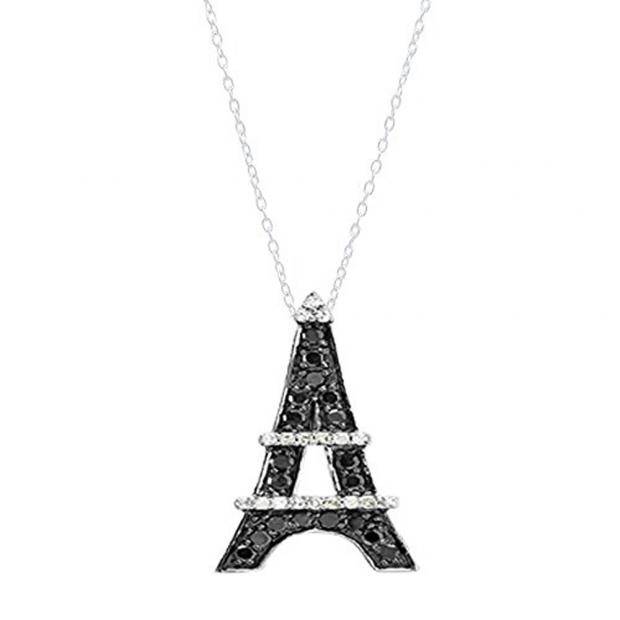 0.50 Carat (ctw) 10K White Gold Round Black and White Diamond Eiffel Tower Pendant 1/2 CT