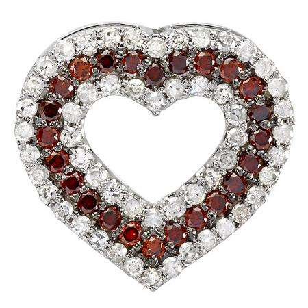 0.95 Carat (ctw) 10K White Gold Round Red & White Diamond Ladies Heart Pendant 1 CT