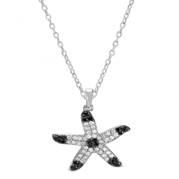 0.50 Carat (ctw) 10k White Gold Round Diamond Ladies Starfish Pendant 1/2 CT