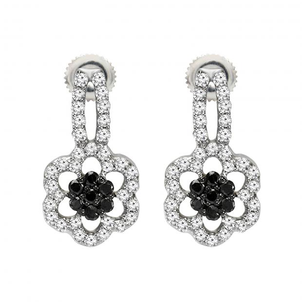 0.40 Carat (ctw) 10K White Gold Black & White Round Diamond Stud Drop Earrings 2/5 CT