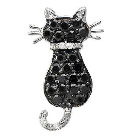 0.35 Carat (ctw) 10K White Gold Round Black and White Diamond Cat Pendant 1/3 CT