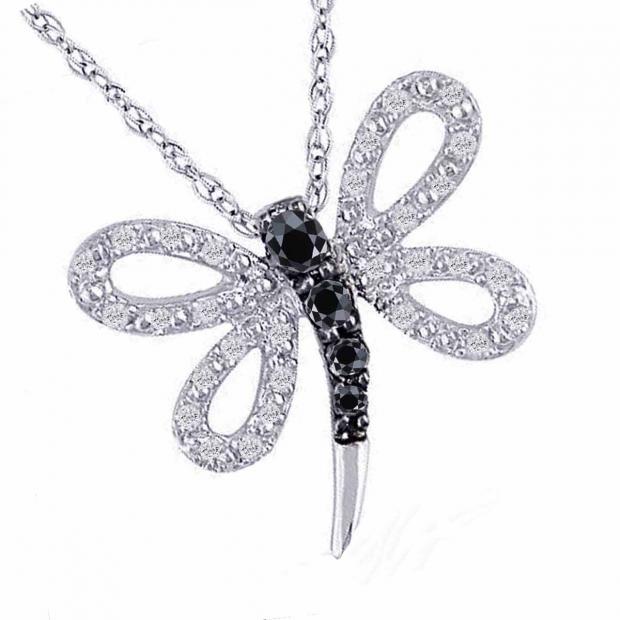 0.30 Carat (ctw) 10k White Gold Round Diamond Ladies Butterfly Pendant