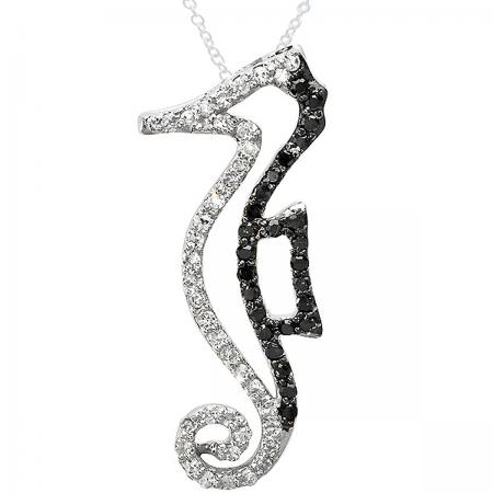 0.33 Carat (ctw) 10K White Gold Round Black White Diamond Seahorse Pendant 1/3 CT
