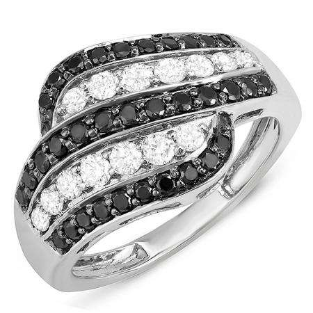 1.05 Carat (ctw) 14k White Gold Black & White Round Diamond Ladies Cocktail Right Hand 1 CT