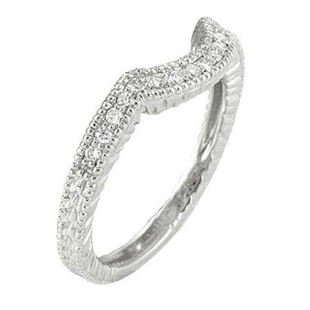 0.20 Carat (ctw) 10K White Gold Round Cut Diamond Ladies Anniversary Wedding Band Matching Stackable Guard Ring 1/5 CT
