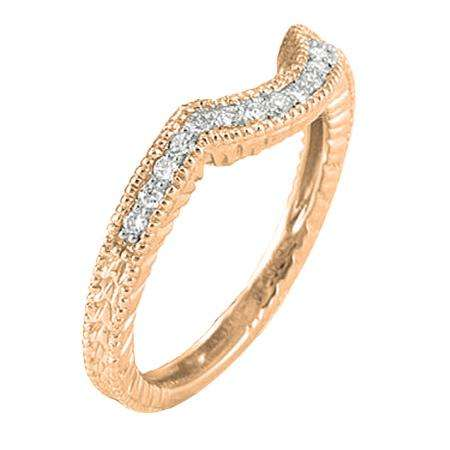 0.20 Carat (ctw) 14K Rose Gold Round Cut Diamond Ladies Anniversary Wedding Band Matching Stackable Guard Ring 1/5 CT
