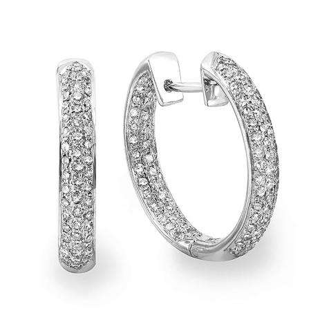 2.25 Carat (ctw) 14k White Gold Round Diamond Hoop Earrings