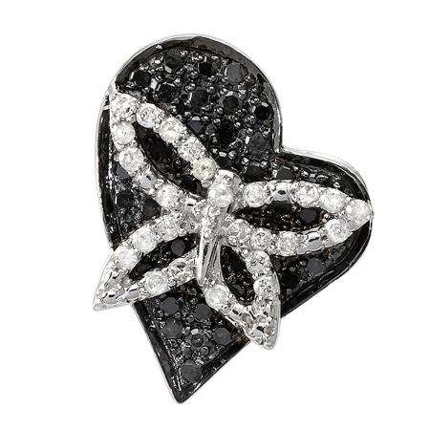 0.55 Carat (ctw) 10k White Gold Round Black and White Diamond Ladies Heart Pendant