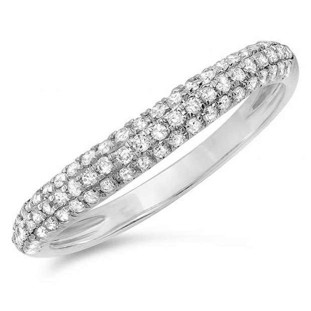 0.40 Carat (ctw) 10K White Gold Round Diamond Ladies Anniversary Wedding Band Stackable Ring
