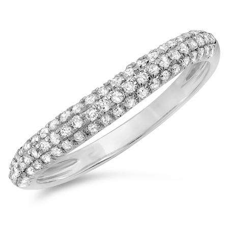 0.40 Carat (ctw) 14k White Gold Round White Diamond Ladies Curved Anniversary Matching Wedding Band Stackable Ring