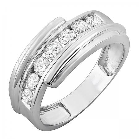 1.25 Carat (ctw) 14k White Gold Round Diamond Mens Anniversary Band Ring