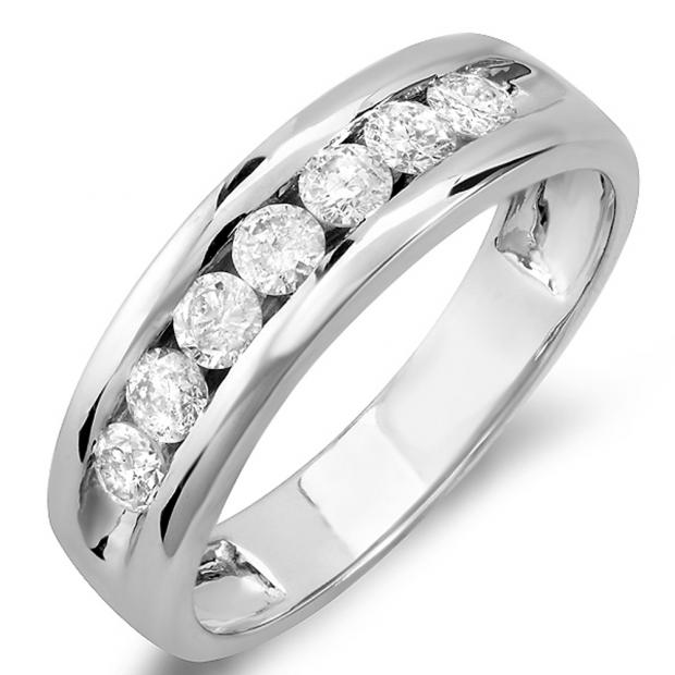 0.85 Carat (ctw) 14K White Gold Round Cut Diamond Mens Anniversary Wedding Band Ring
