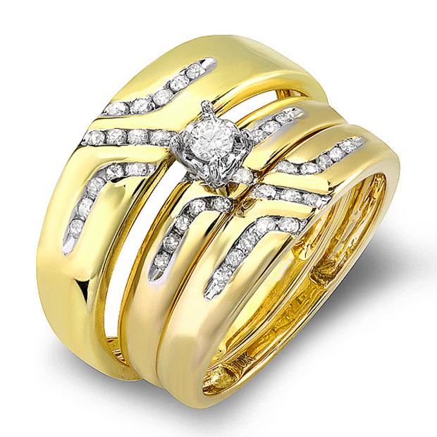 CERTIFIED 0.55 Carat (ctw) 10K Yellow Gold Round White Diamond Men & Women
