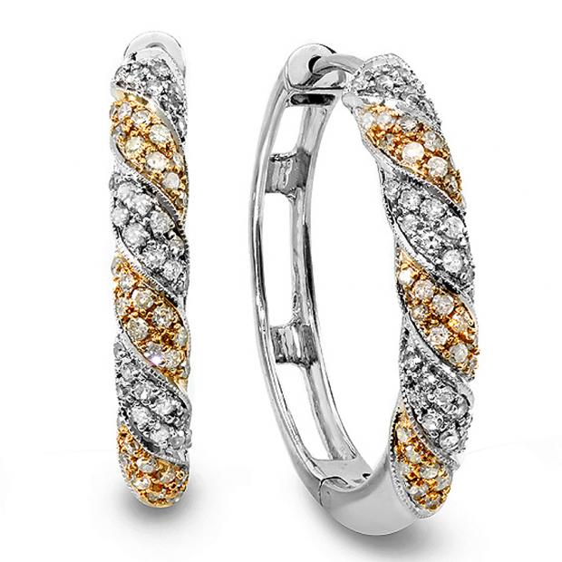 1.10 Carat (ctw) 14k Two Tone Gold Round Diamond Ladies Hoop Earrings