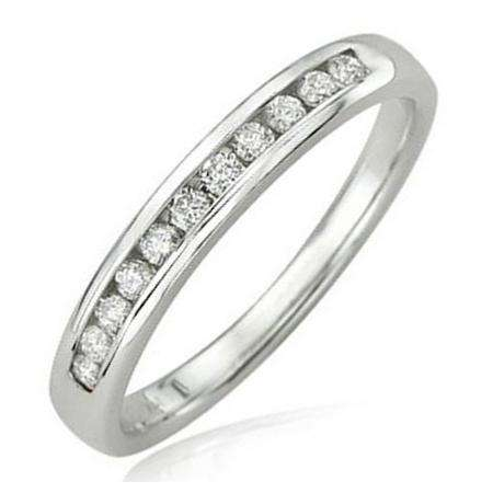0.20 Carat (ctw) 14K White Gold Round Diamond Anniversary Wedding Band Stackable Ring 1/5 CT