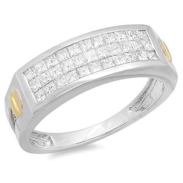 1.15 Carat (ctw) 14k White Gold Brilliant Princess Diamond Invisible Mens Ring