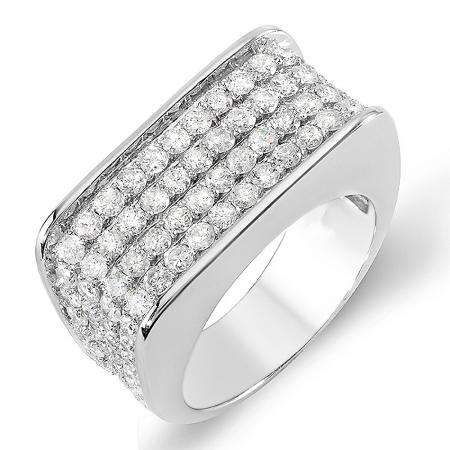 3.50 Carat (ctw) 14k White Gold Round Hip Hop Diamond Mens Ring
