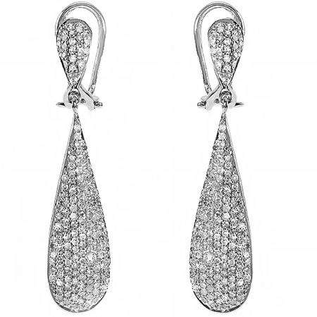 1.25 Carat (ctw) 14k White Gold Round Diamond Ladies Dangling Drop Earrings