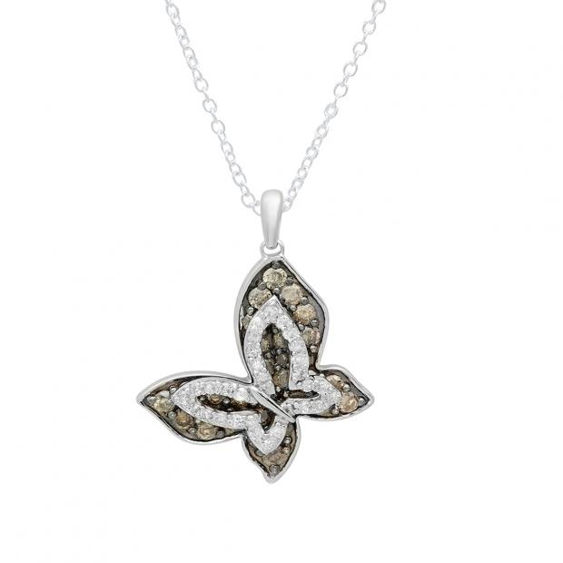 0.95 Carat (ctw) 14K White Gold Round Champagne White Diamond Pendant