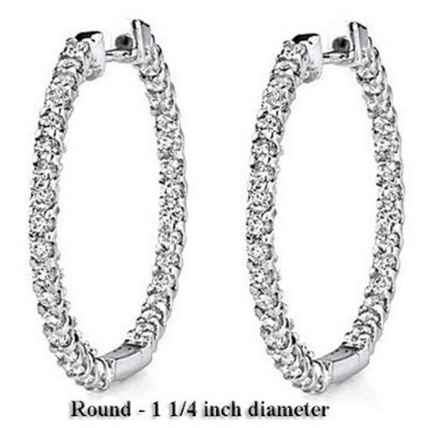 2.25 Carat (ctw) 14K White Gold Round White Diamond Fine Hoop Earring 2 1/4 CT