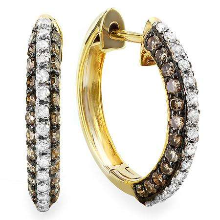 0.90 Carat (ctw) 14K Yellow Gold Round White & Champagne Diamond Cocktail Hoop Earrings
