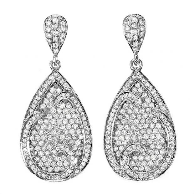 CERTIFIED 4.00 Carat (ctw) 14k White Gold Round Diamond Ladies Dangling Drop Earrings