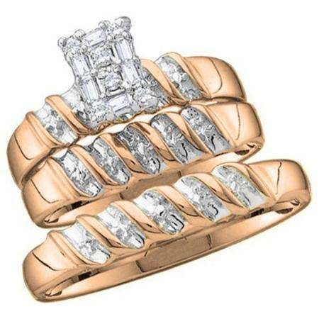0.05 Carat (ctw) 18k Rose Gold Round Diamond Men & Ladies Trio Set
