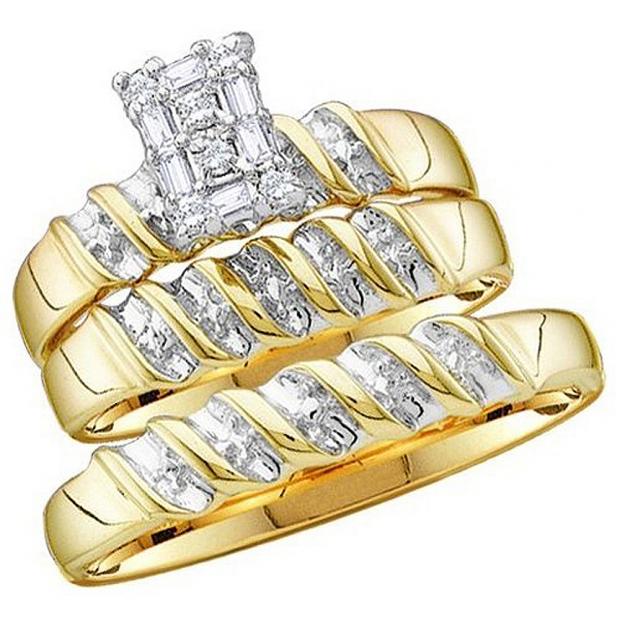 0.05 Carat (ctw) 10k Yellow Gold Round Diamond Men & Ladies Trio Set