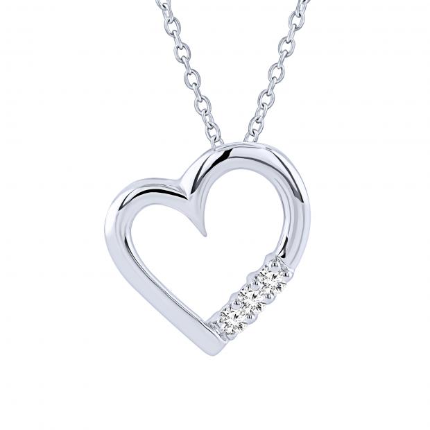 0.15 Carat (ctw) 14k White Gold 3 Stone Diamond Heart Pendant