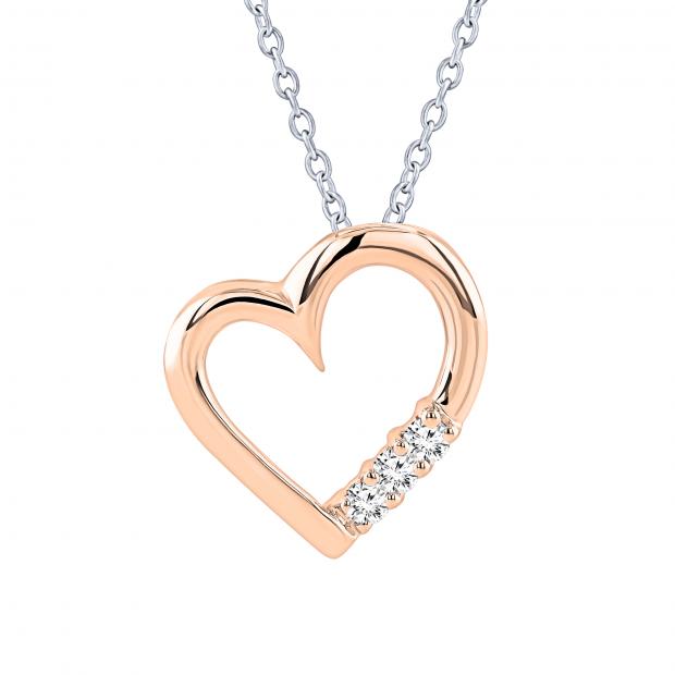 0.15 Carat (ctw) 18k Rose Gold 3 Stone Diamond Heart Pendant