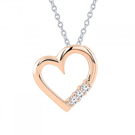 0.15 Carat (ctw) 10k Rose Gold 3 Stone Diamond Heart Pendant