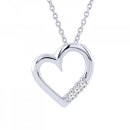 0.15 Carat (ctw) 10k White Gold 3 Stone Diamond Heart Pendant