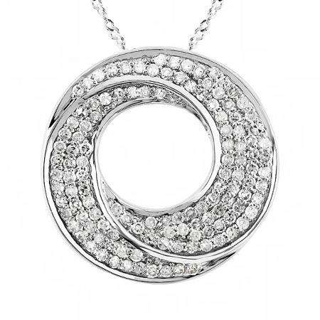 1.00 Carat (ctw) 14k White Gold Round Diamond Ladies Circle Pendant 1 CT (Silver Chain Included)