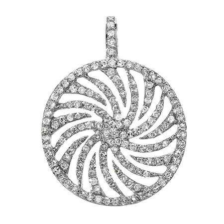 0.85 Carat (ctw) 14K White Gold Round Diamond Ladies Circle Swirl Pendant