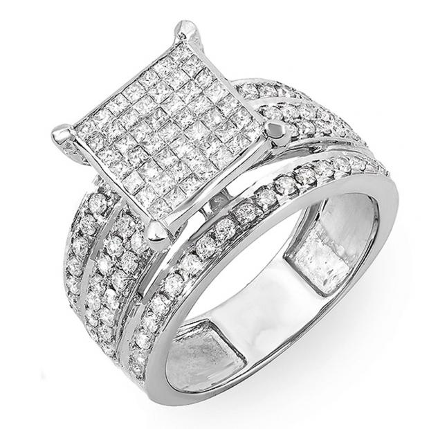 1.50 Carat (ctw) 14k White Gold Princess & Round Invisible Set Diamond Ladies Cocktail Engagement Bridal Ring 1 1/2 CT