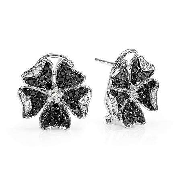 1.25 Carat (ctw) 14k White Gold Black & White Round Diamond Ladies Cluster Flower Stud Earrings 1 1/4 CT