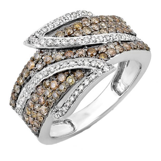 1.26 Carat (ctw) 10k White Gold White & Champagne Round Diamond Ladies Cocktail Right Hand Ring