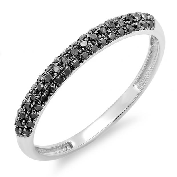0.25 Carat (ctw) 10k White Gold Round Black Diamond Ladies Pave Anniversary Wedding Band Stackable Ring 1/4 CT