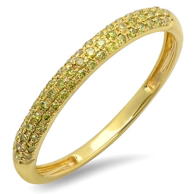 0.25 Carat (ctw) 10k Yellow Gold Round Yellow Diamond Ladies Pave Anniversary Wedding Band Stackable Ring 1/4 CT